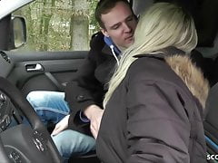 GERMAN MOTHER JULIA SEDUCE YOUNG BOY HITCHER TO FUCK IN CAR