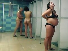 Cameravoyeur - Pregnant and Mature Women Public Pool Shower