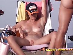 Horny Nudist Milf Spreading pussy at the beach Spycam Voyeur