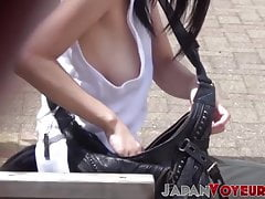 Young nipples flashing in epic Japanese voyeur footage