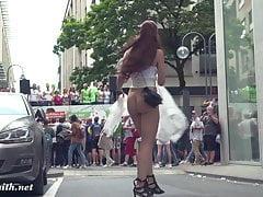 Jeny Smith walks in public in transparent dress
