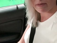 Tight pussy fingered to orgasm in the public parking garage